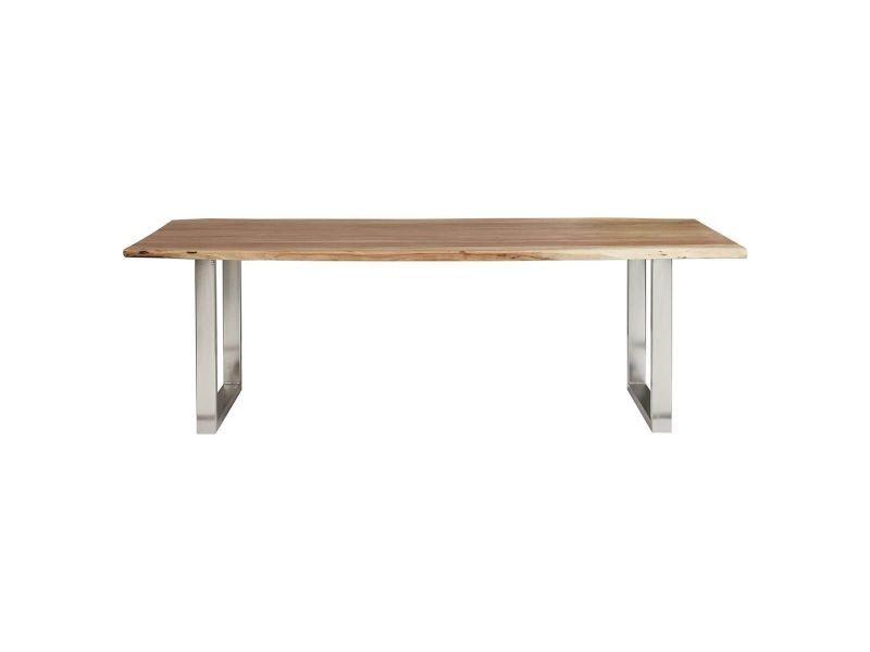 Jaipur - table repas 160 cm acacia et métal chromé
