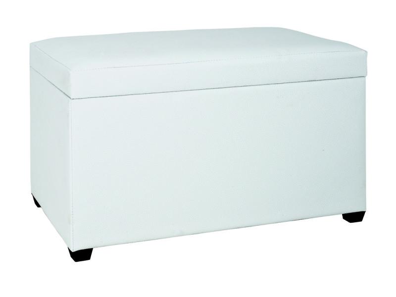 Banc de rangement en mdf, polyuréthane blanc, dim : l65 x p40 x h42 cm
