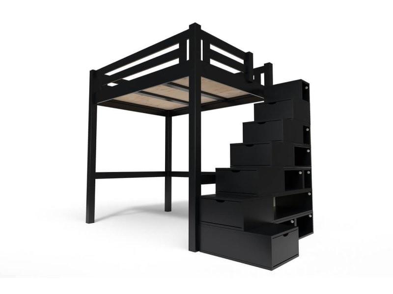 Lit mezzanine alpage bois + escalier cube hauteur réglable 140x200 noir ALPAG140CUB-N