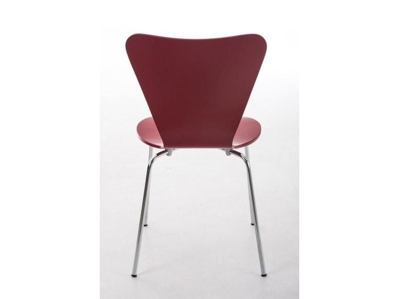 Lot de 4 chaises de séjour bureau en bois rouge et métal cds10106