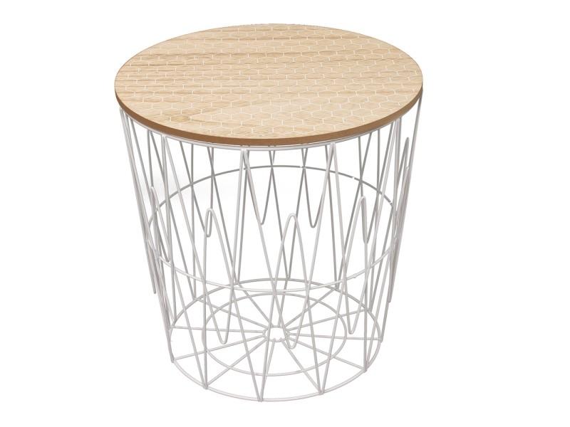 Table filaire plateau bois motif nid d'abeille