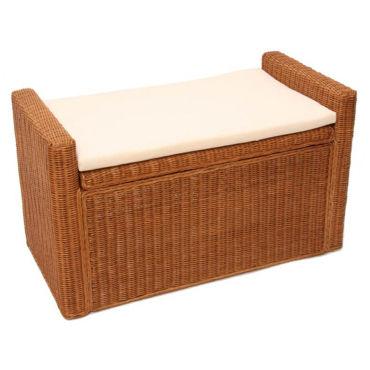 banc coffre de rangement miel en rotin kubu avec coussins 88 cm pegane vente de coffre et. Black Bedroom Furniture Sets. Home Design Ideas