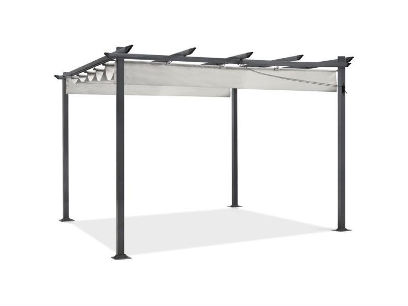 pergola toit r tractable beige 3x4m tonnelle 4 pieds vente de id market conforama. Black Bedroom Furniture Sets. Home Design Ideas