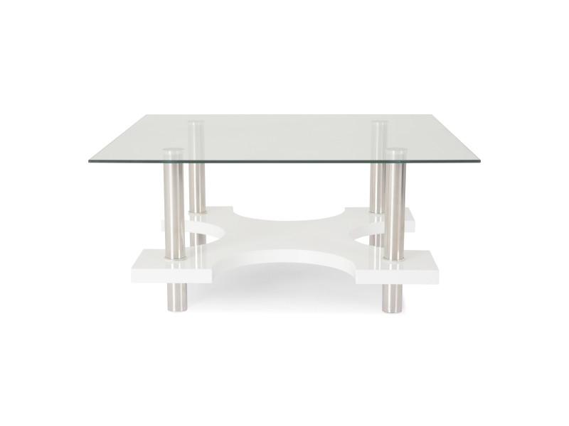 Barnabe table basse carrée plateau en verre trempé blanc