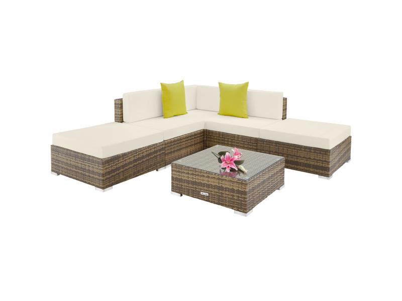 Tectake canapé de jardin paris modulable 5 places - marron naturel 403745