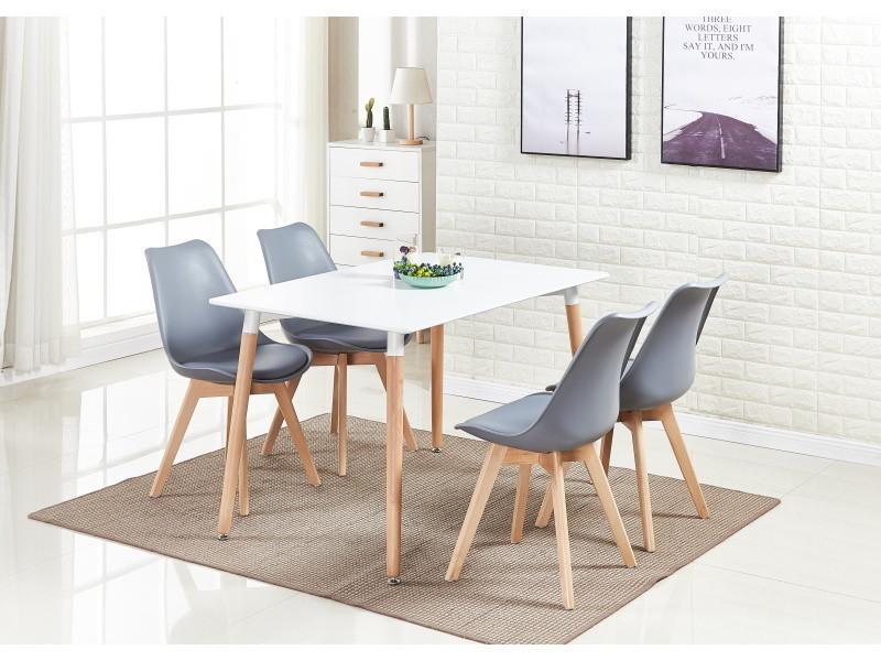 Ensemble salle à manger moderne lorenzo - table blanche + 4 chaises grises - design scandinave
