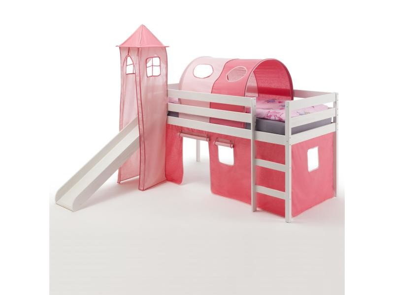 lit enfant sur lev 90 x 200 pin lasur blanc toboggan donjon tunnel rideau rose vente de. Black Bedroom Furniture Sets. Home Design Ideas