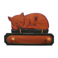 Patère chat en bois exotique