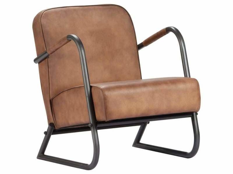 Fauteuil chaise siège lounge design club sofa salon de repos marron clair cuir véritable helloshop26 1102296
