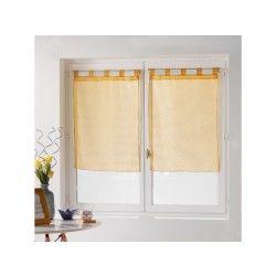Une paire de rideau voilage 60 x 90 cm coupe dandy jaune