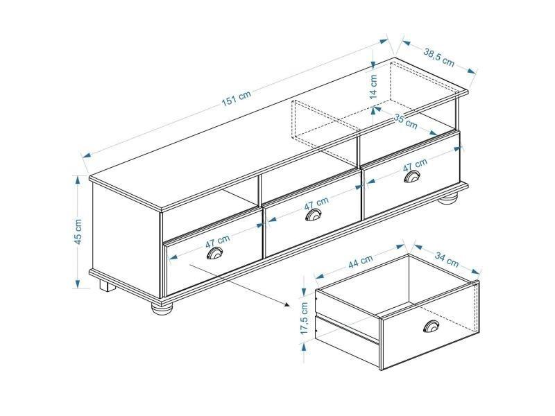 meuble banc tv vintage pin massif lasur blanc vente de. Black Bedroom Furniture Sets. Home Design Ideas