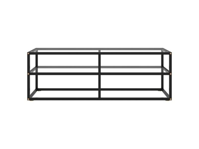 Vidaxl meuble tv noir avec verre trempé 120x40x40 cm