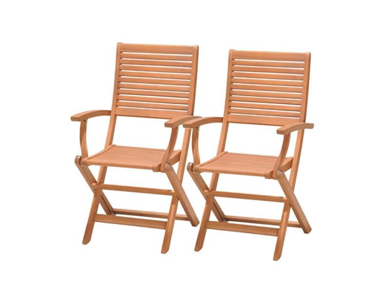 Kingsbury - 2 chaises pliables avec bras en bois d\'eucalyptus 57,70 ...