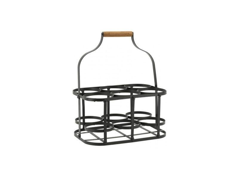 Porte-bouteilles en métal et bois 6 bouteilles 33.5 x 22.5 x 37 cm