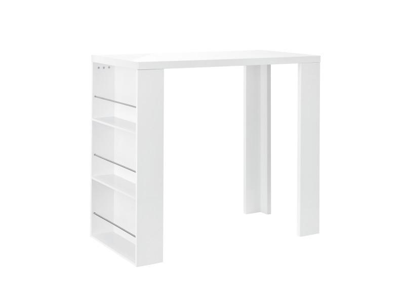 [en.casa] table de bar / comptoir de bar + bar avec 3 compartiments - blanc mat - de mdf laqué