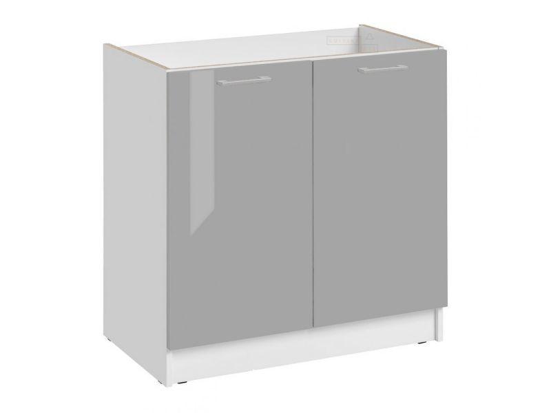 Meuble sous-évier cuisine - 2 portes, l 80 cm - gris brillant