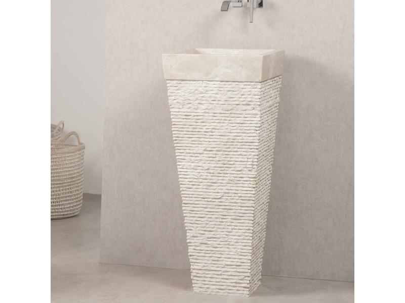Vasque salle de bain sur pied en pierre pyramide havana crème 32049