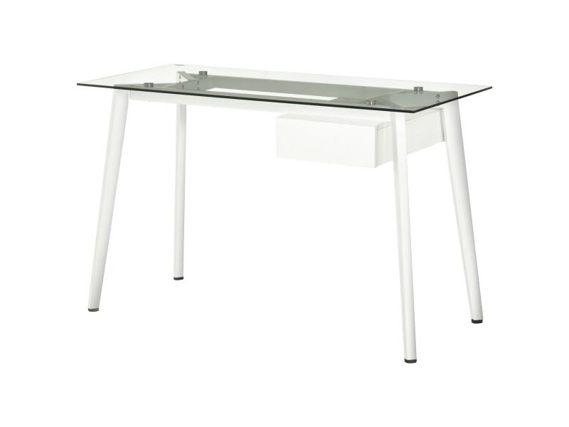 Bureau informatique multimédia design contemporain tiroir coulissant mdf plateau verre trempé châssis métal blanc