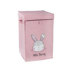 Panier à linge bunny en polyester et carton - dim : l34 x l54 x h34 cm - pegane -