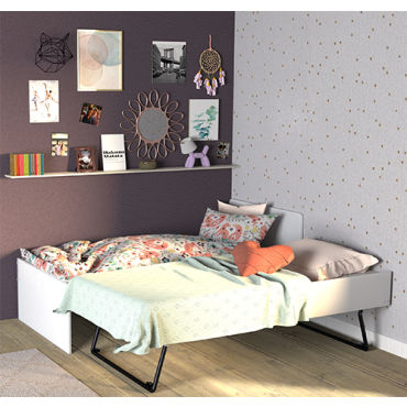 lit gigogne sun 90x190 2 sommiers blanc 32729 vente de lit enfant conforama. Black Bedroom Furniture Sets. Home Design Ideas