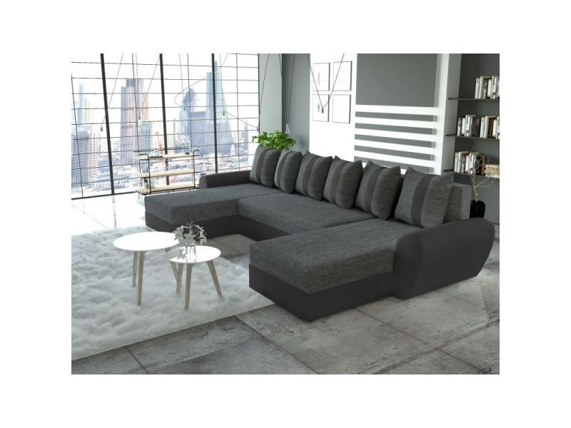 Canapé d'angle panoramique convertible tiger gris et noir TENDENCIO