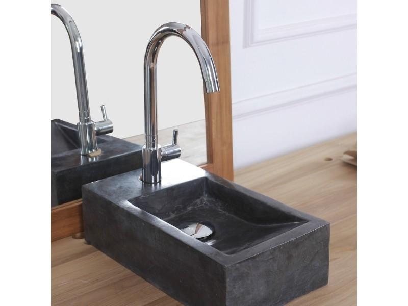 Mini vasque rectangulaire en pierre de marbre noir - Vente de Vasque et  lavabo - Conforama d126c0729b92