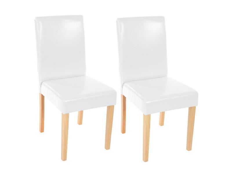 Lot de 2 chaises de séjour littau, simili-cuir, blanc, pieds clairs