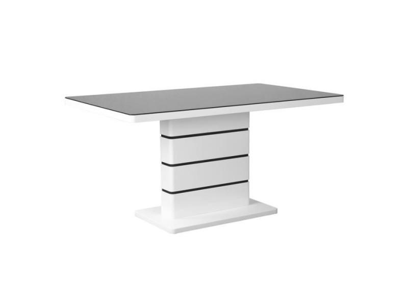 Table de sejour 150x90 cm - laque blanc et verre noir - stripes XJH200214
