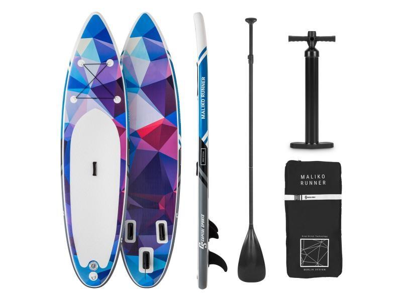 Capital sports maliko runner set de paddle gonflable: planche 305 x 10 x 77 cm - pagaie télescopique - charge 90kg - bleu & rouge WTR1-Maliko2020-blu
