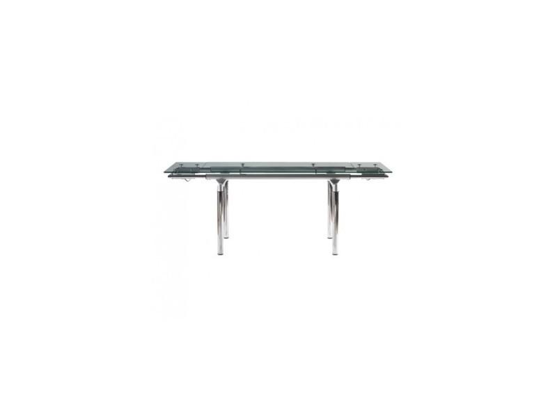 Table à rallonges design en verre et chrome fusion 140-200 cm