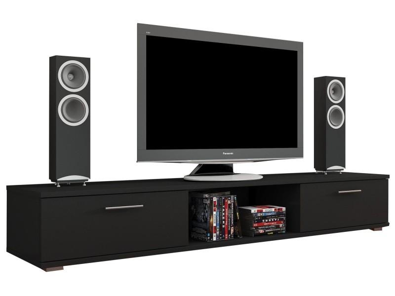 Meuble Tv Design 176 Cm à 2 Portes Coloris Noir Mat P 25390 Co