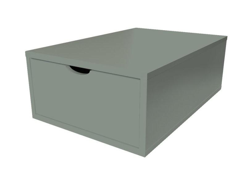 Cube de rangement bois 75x50 cm + tiroir gris CUBE75T-G