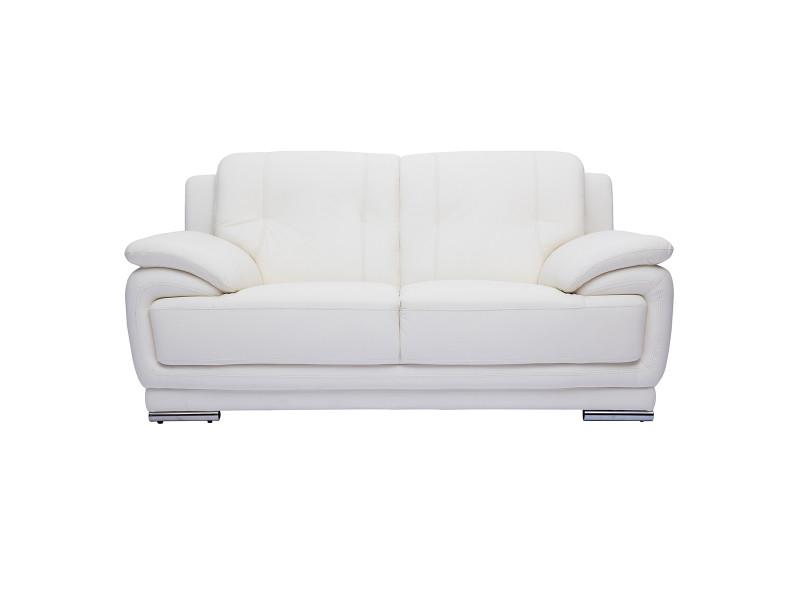 Canapé cuir design 2 places blanc tamara - cuir de buffle