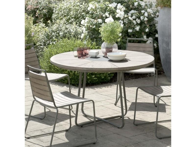 Table de jardin 4/6 pers - ronde bois en teck teinté grisé pieds en métal 120x120 cm