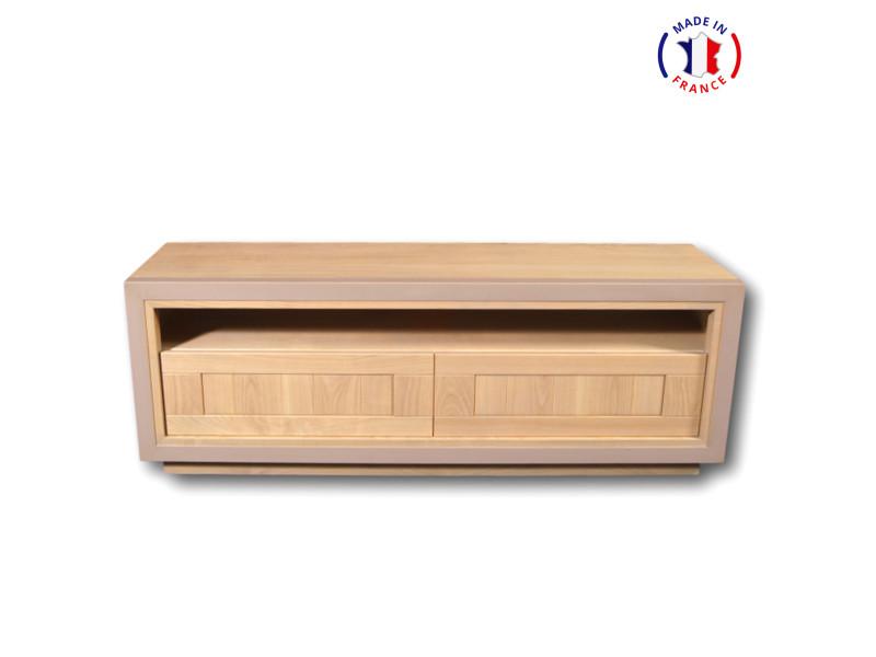 Meuble tv design en bois massif vernis naturel et couleur kenya-100% made in france