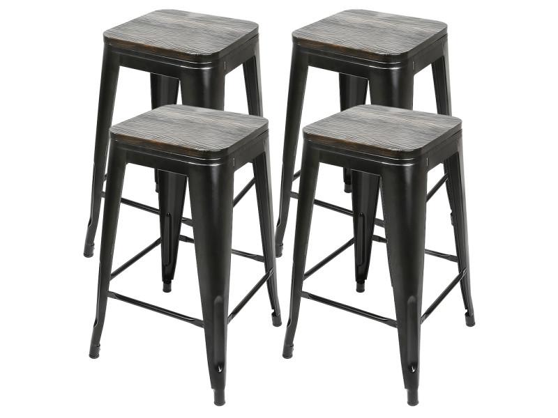 4x tabouret de bar industriel hombuy avec siège en bois, chaise de comptoir, métal, design industriel, empilable