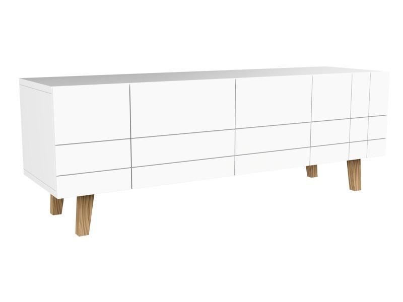 Meuble tv 4 portes, en mdf blanc, 140x45x50cm -pegane-