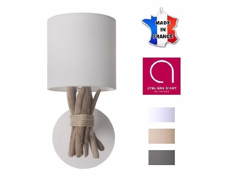 Lampe applique murale artisanale en bois flotté naturel - fabriquée à la main en france - couleur : blanc