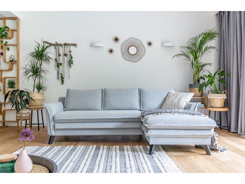 Canapé d'angle anti-tache fixe boho gris clair angle droit