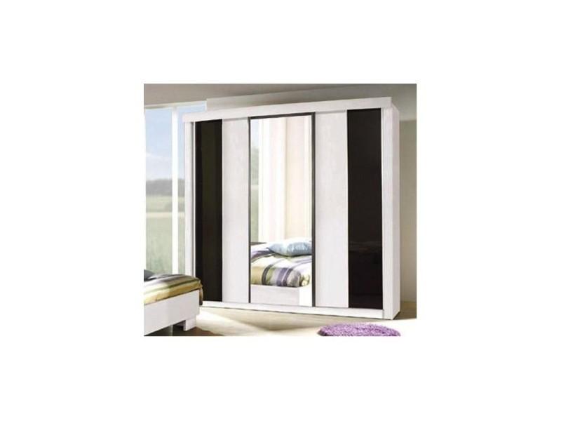 Armoire, garde robe dublin trois portes coulissantes. Coloris blanc mat et noir brillant. Meuble pour chambre à coucher.