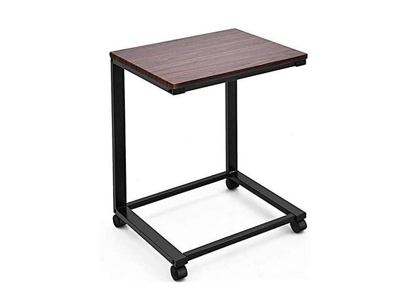Costway table de lit à roulettes verrouillables pour ordinateur portable mobile multifonctionnelle pc en bois mdf + fer 50 x 40 x 64,5 cm