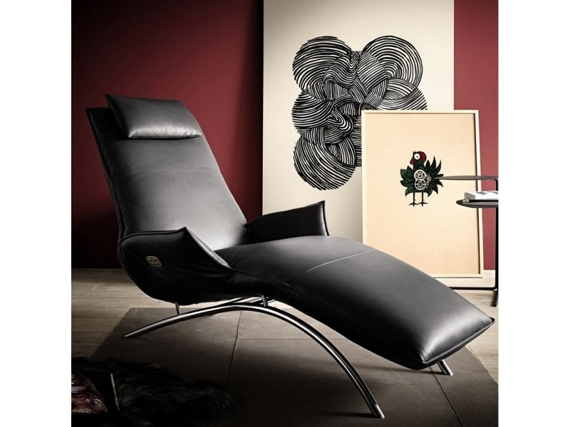 Chaise longue cuir noir de relaxation madame day lounge sur batterie