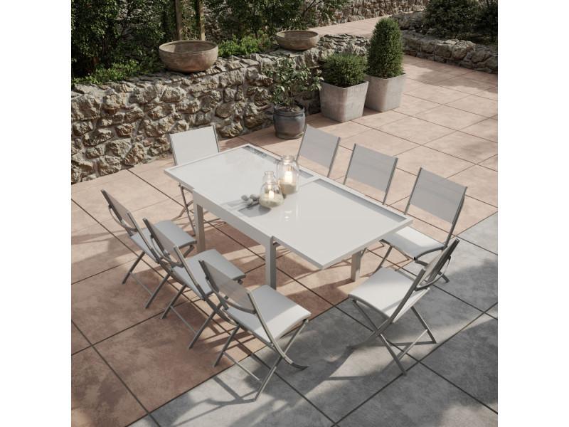 Table de jardin extensible aluminium/verre 90/180cm + 8 chaises ...