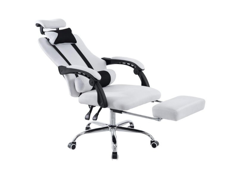 fauteuil de bureau ergonomique avec repose pieds extensible appui t te blanc bur10087 conforama. Black Bedroom Furniture Sets. Home Design Ideas