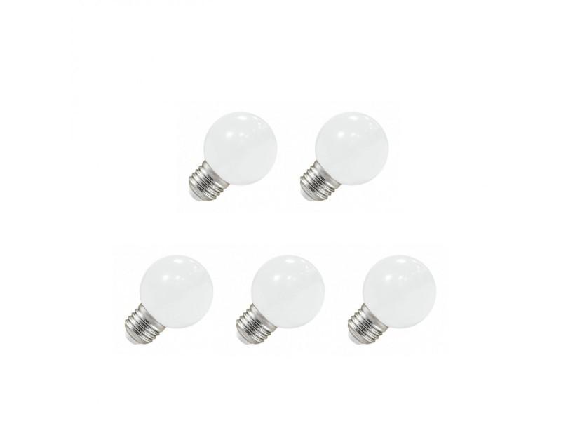 Pack 5x ampoule led e27 bulb opaque blanc chaud g45 1w (9w) 3000°k