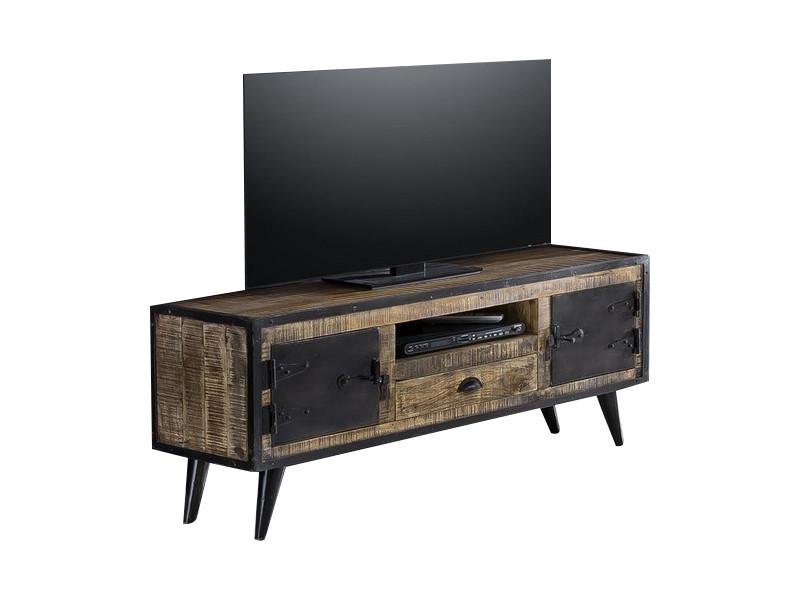 Meuble Tv Industriel 140x40 Cm En Bois De Manguier Et Fer Forge 2