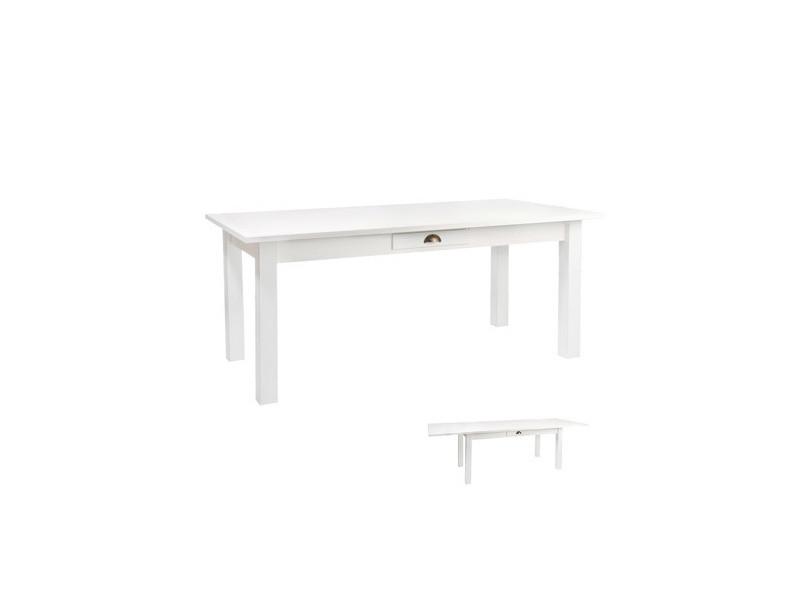 Table Rectangulaire Escamotable Bois Coloris Blanc Vente