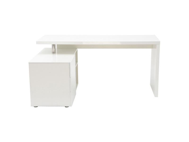 Bureau design blanc laqué rangements côté gauche maxi vente de