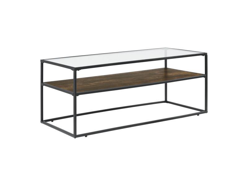 Table basse rectangulaire de salon table stylée avec étagère en panneau de particules structure en acier laqué plateau en verre 45 x 110 x 50 cm noir transparent effet bois foncé [en.casa]