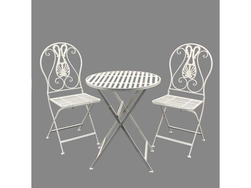 2 chaises 1 table de jardin en fer pliante pliable blanc ...